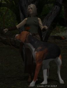 Talora and her faithful hound Swift in Thedas' wilderness.